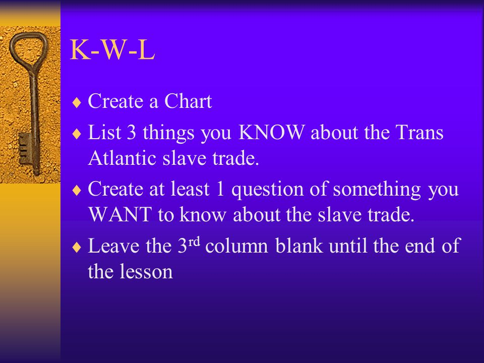 K-W-L  Create a Chart  List 3 things you KNOW about the Trans Atlantic slave trade.  Create at least 1 question of something you WANT to know about
