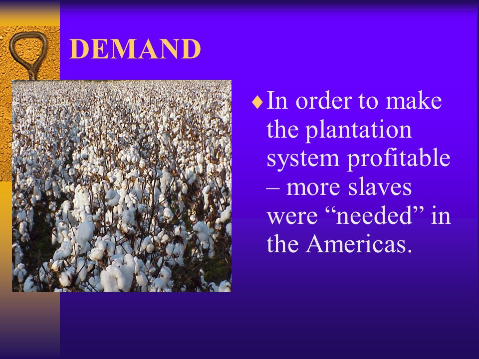 DEMAND  In order to make the plantation system profitable – more slaves were needed in the Americas.