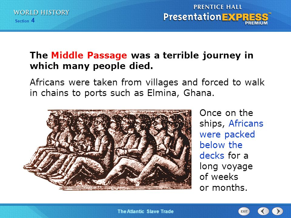 The Atlantic Slave Trade Section 4 The Middle Passage was a terrible journey in which many people died. Africans were taken from villages and forced t