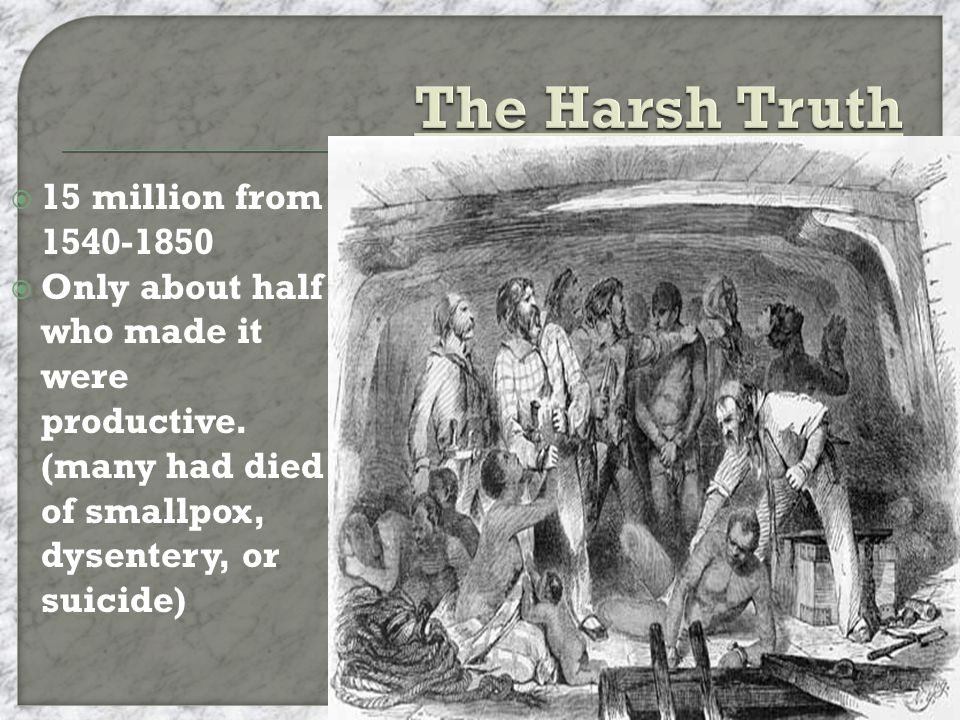  15 million from 1540-1850  Only about half who made it were productive.