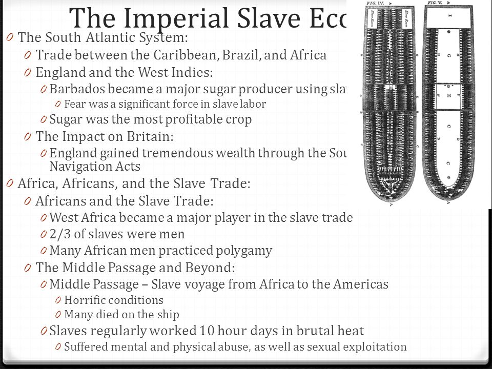The Imperial Slave Economy 0 Slavery in the Chesapeake and South Carolina: 0 1740, slaves made up 40% of the population in the Chesapeake 0 What caused this increase after 1676.