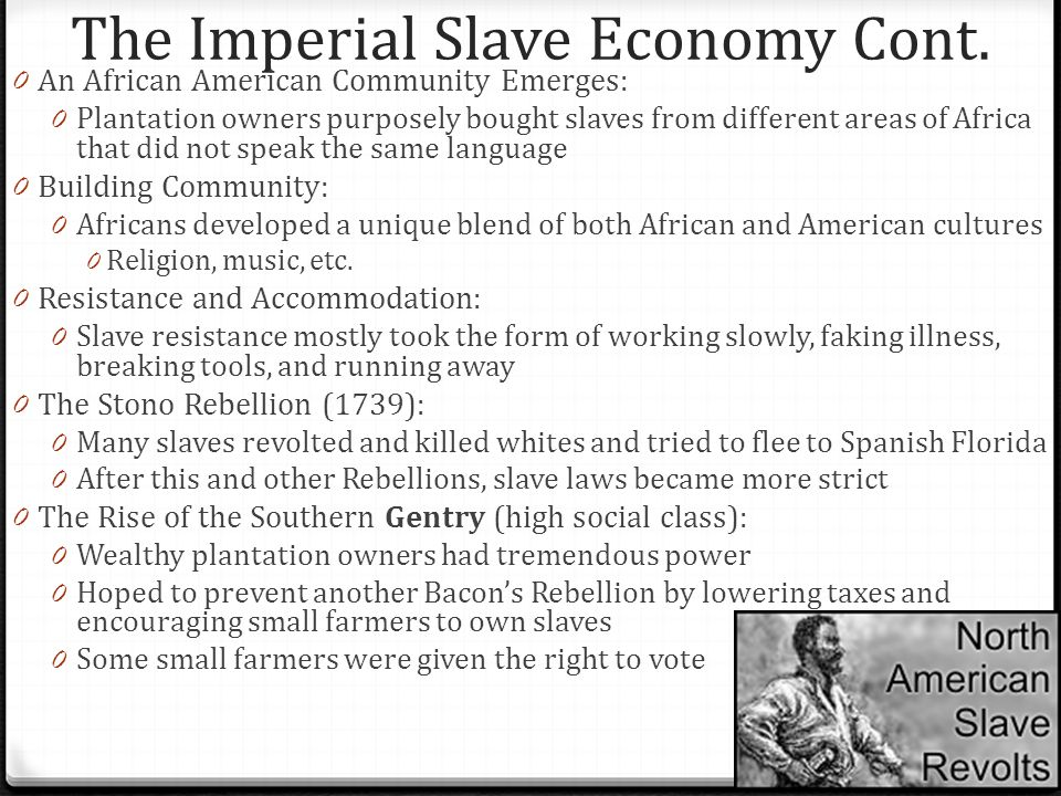 The Imperial Slave Economy Cont. 0 An African American Community Emerges: 0 Plantation owners purposely bought slaves from different areas of Africa t