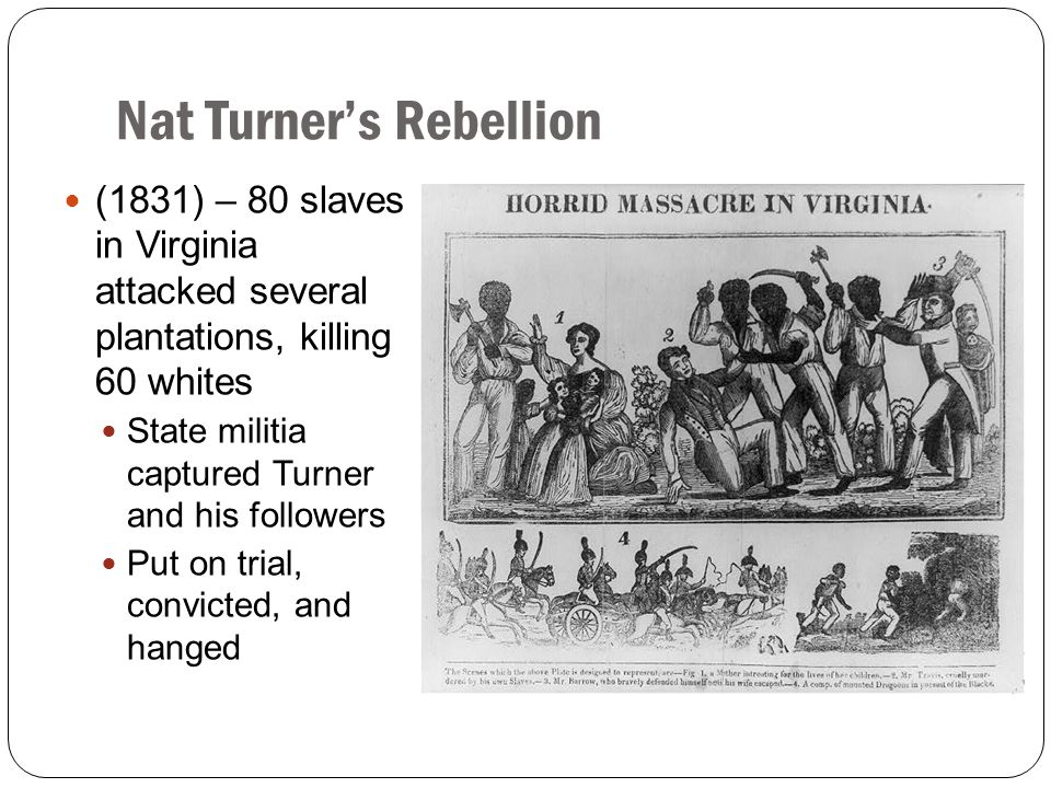 Nat Turner's Rebellion (1831) – 80 slaves in Virginia attacked several plantations, killing 60 whites State militia captured Turner and his followers