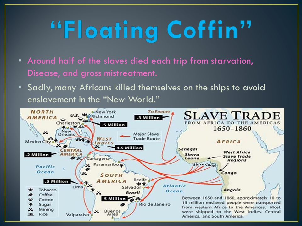 Around half of the slaves died each trip from starvation, Disease, and gross mistreatment. Sadly, many Africans killed themselves on the ships to avoi
