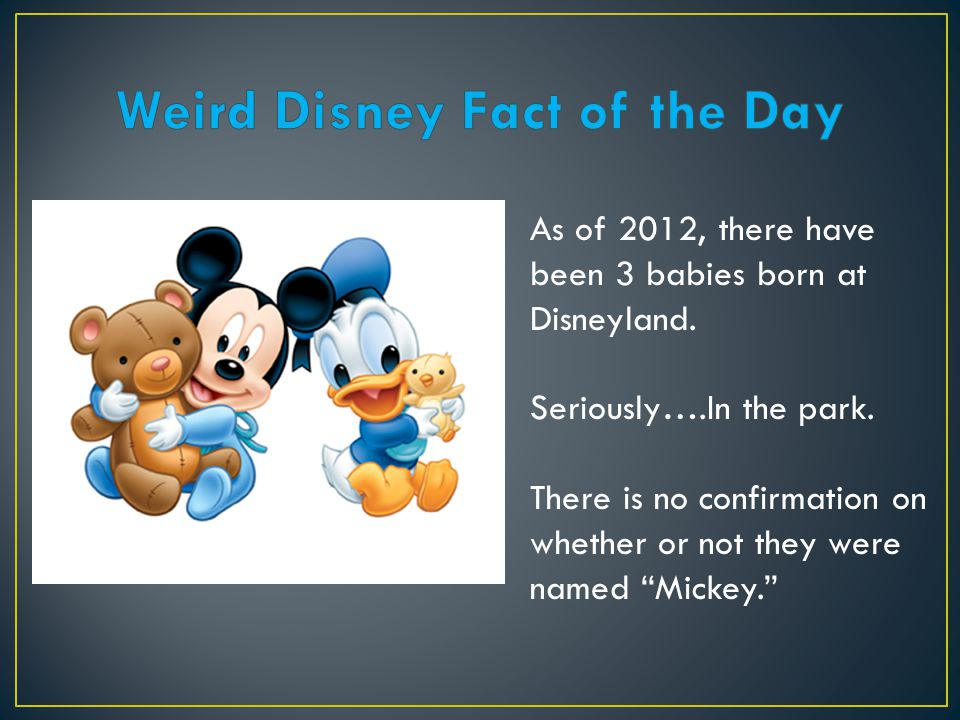 "As of 2012, there have been 3 babies born at Disneyland. Seriously….In the park. There is no confirmation on whether or not they were named ""Mickey."""