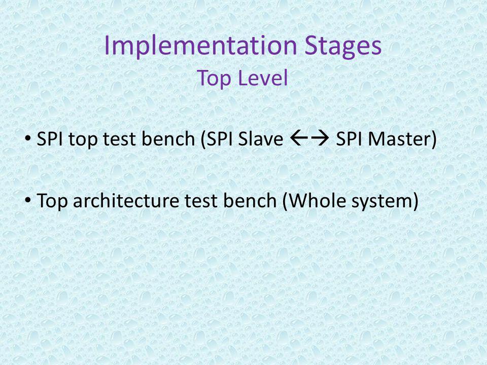 Implementation Stages Top Level SPI top test bench (SPI Slave  SPI Master) Top architecture test bench (Whole system)