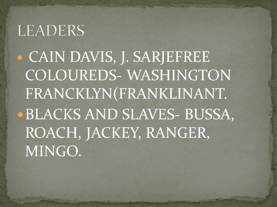 CAIN DAVIS, J. SARJEFREE COLOUREDS- WASHINGTON FRANCKLYN(FRANKLINANT. BLACKS AND SLAVES- BUSSA, ROACH, JACKEY, RANGER, MINGO.