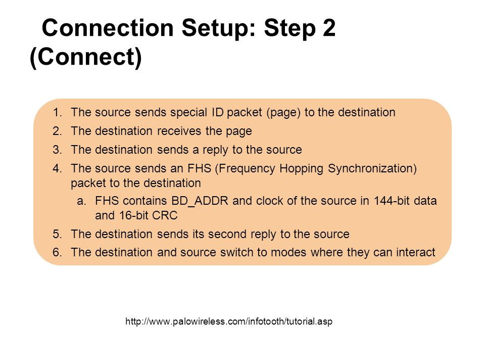 Connection Setup: Step 2 (Connect) 1.The source sends special ID packet (page) to the destination 2.The destination receives the page 3.The destinatio