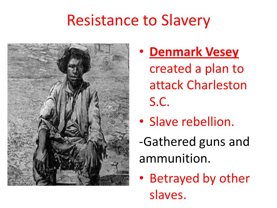 Resistance to Slavery Denmark Vesey created a plan to attack Charleston S.C.