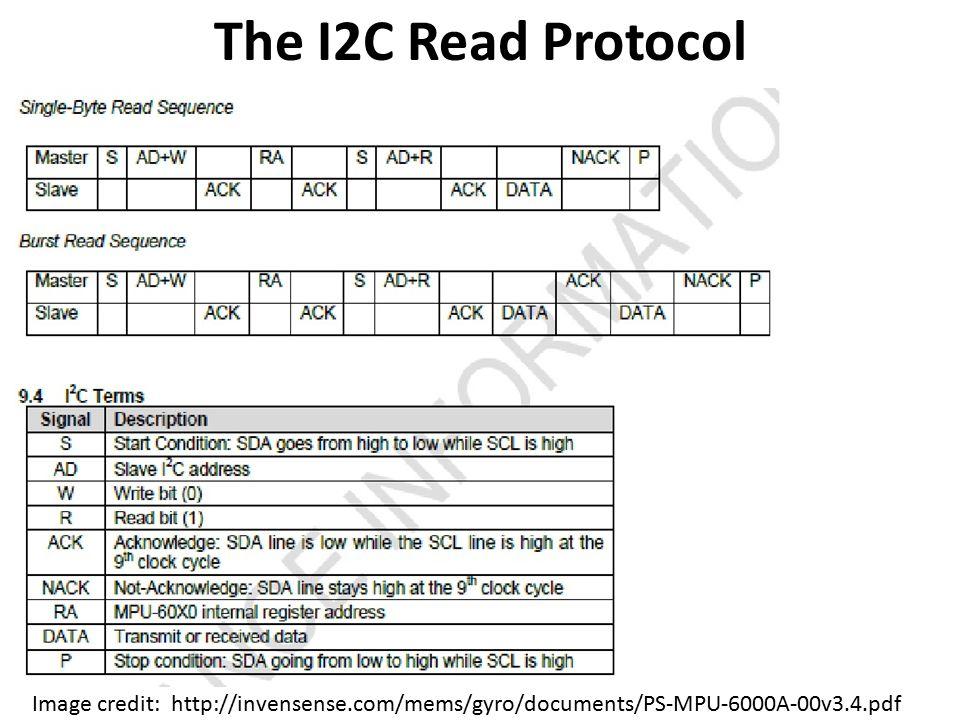 The I2C Read Protocol Image credit: http://invensense.com/mems/gyro/documents/PS-MPU-6000A-00v3.4.pdf