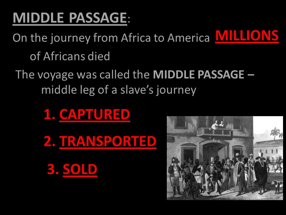 MIDDLE PASSAGE : On the journey from Africa to America of Africans died The voyage was called the MIDDLE PASSAGE – middle leg of a slave's journey MILLIONS 1.