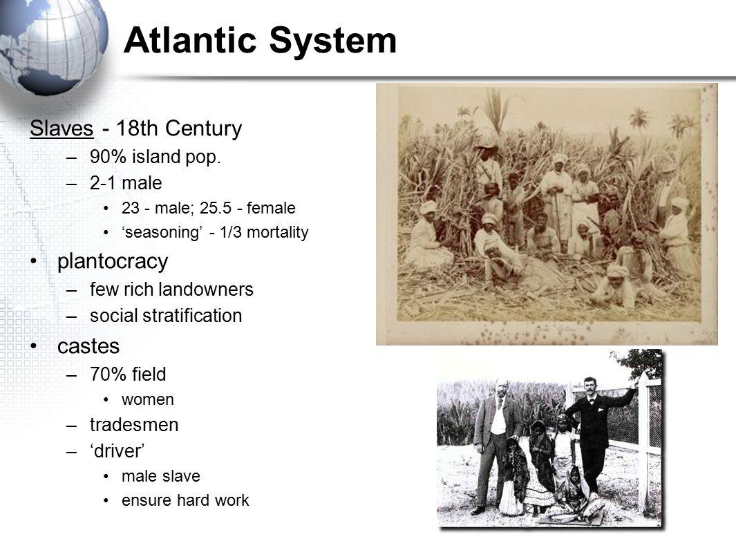 Slaves - 18th Century –90% island pop. –2-1 male 23 - male; 25.5 - female 'seasoning' - 1/3 mortality plantocracy –few rich landowners –social stratif