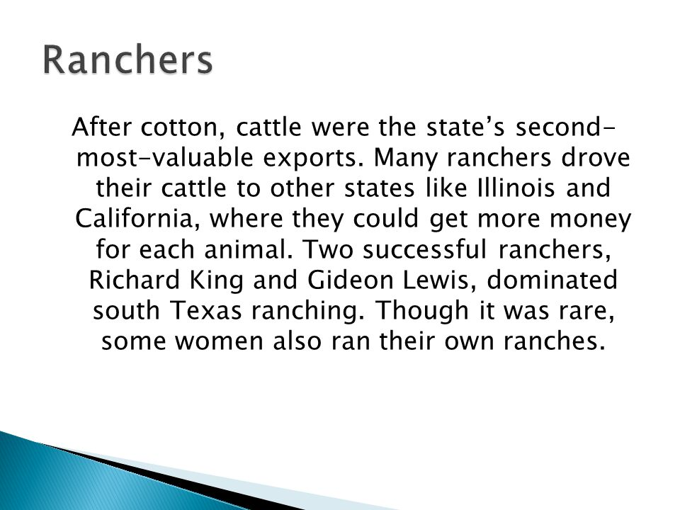 After cotton, cattle were the state's second- most-valuable exports. Many ranchers drove their cattle to other states like Illinois and California, wh