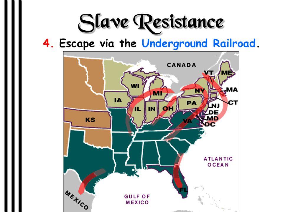 Slave Resistance 4. Escape via the Underground Railroad.