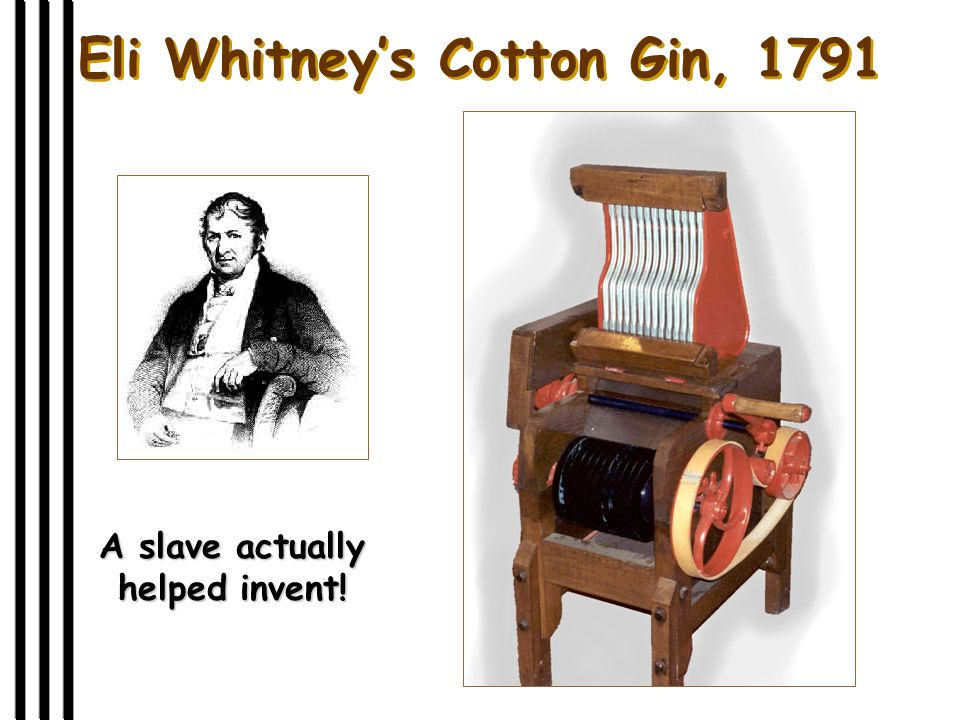 Eli Whitney's Cotton Gin, 1791 A slave actually helped invent!