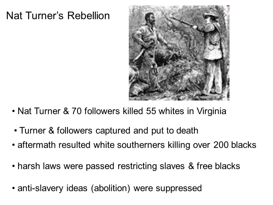 Nat Turner's Rebellion Nat Turner & 70 followers killed 55 whites in Virginia Turner & followers captured and put to death aftermath resulted white southerners killing over 200 blacks harsh laws were passed restricting slaves & free blacks anti-slavery ideas (abolition) were suppressed