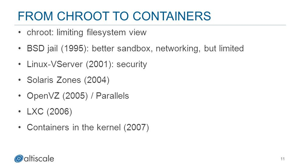 FROM CHROOT TO CONTAINERS chroot: limiting filesystem view BSD jail (1995): better sandbox, networking, but limited Linux-VServer (2001): security Solaris Zones (2004) OpenVZ (2005) / Parallels LXC (2006) Containers in the kernel (2007) 11