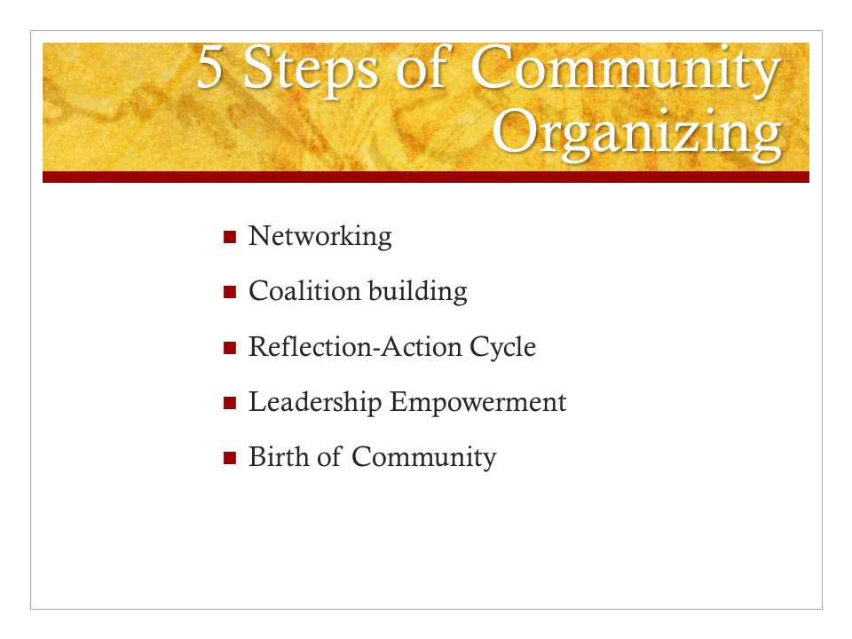 5 Steps of Community Organizing Networking Coalition building Reflection-Action Cycle Leadership Empowerment Birth of Community