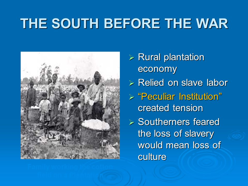 THE SOUTH BEFORE THE WAR  Rural plantation economy  Relied on slave labor  Peculiar Institution created tension  Southerners feared the loss of slavery would mean loss of culture Family working the cotton field on a Plantation