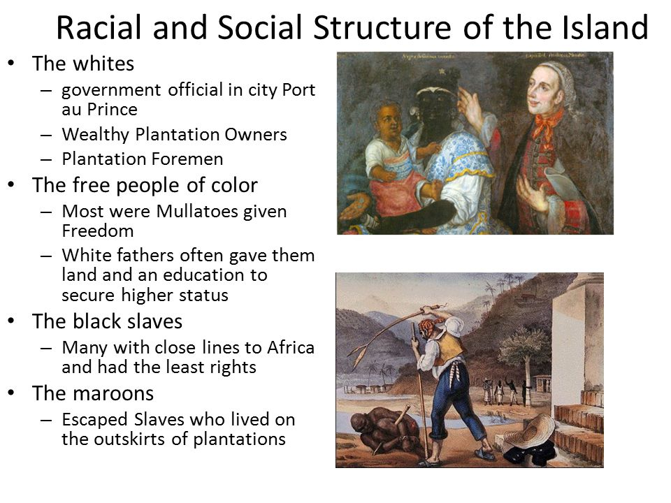 Racial and Social Structure of the Island The whites – government official in city Port au Prince – Wealthy Plantation Owners – Plantation Foremen The free people of color – Most were Mullatoes given Freedom – White fathers often gave them land and an education to secure higher status The black slaves – Many with close lines to Africa and had the least rights The maroons – Escaped Slaves who lived on the outskirts of plantations