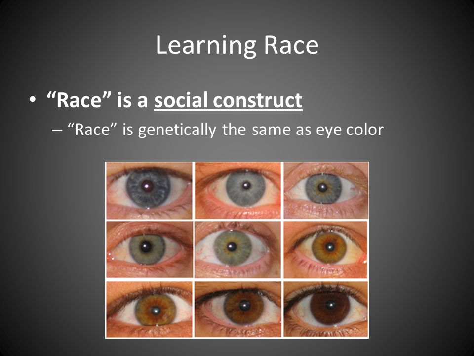 Learning Race Race is a social construct – Race is genetically the same as eye color