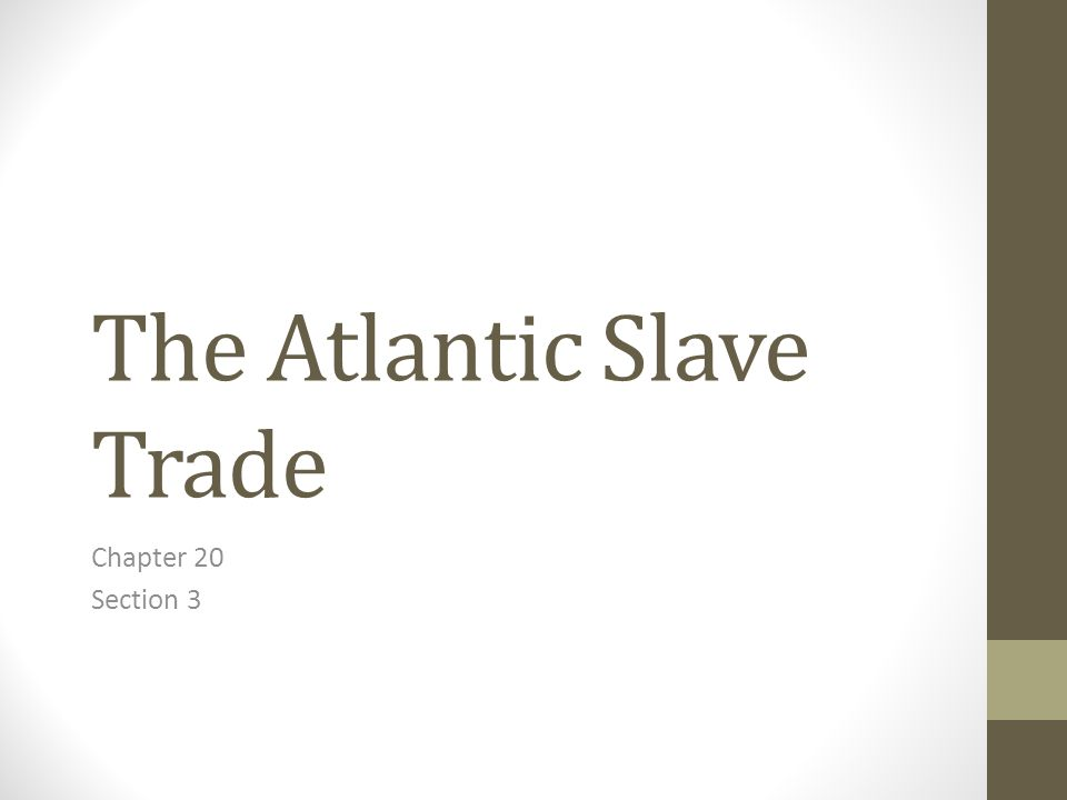The Atlantic Slave Trade Chapter 20 Section 3