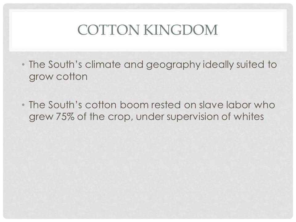 COTTON KINGDOM The South's climate and geography ideally suited to grow cotton The South's cotton boom rested on slave labor who grew 75% of the crop,