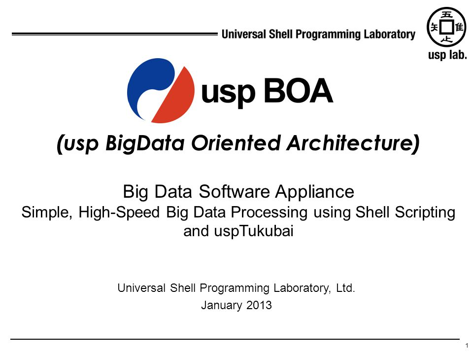 1 (usp BigData Oriented Architecture) Universal Shell Programming Laboratory, Ltd. January 2013 Big Data Software Appliance Simple, High-Speed Big Dat