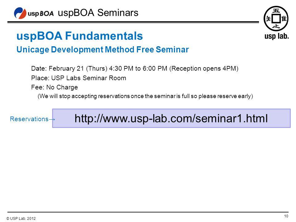 uspBOA Seminars 10 © USP Lab.