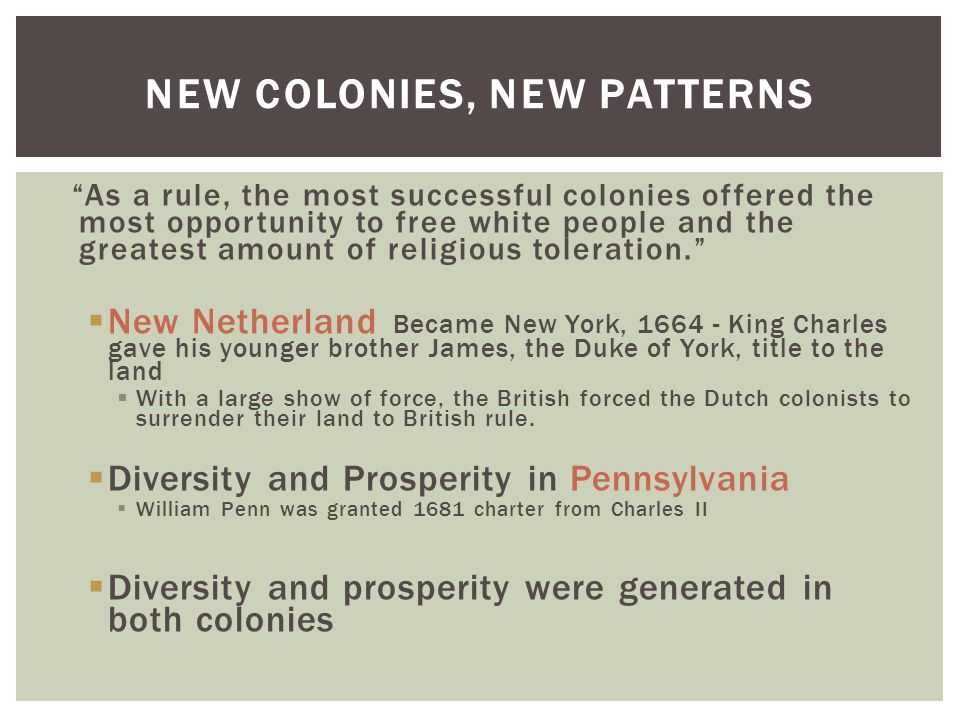 NEW COLONIES, NEW PATTERNS As a rule, the most successful colonies offered the most opportunity to free white people and the greatest amount of religious toleration.  New Netherland Became New York, 1664 - King Charles gave his younger brother James, the Duke of York, title to the land  With a large show of force, the British forced the Dutch colonists to surrender their land to British rule.