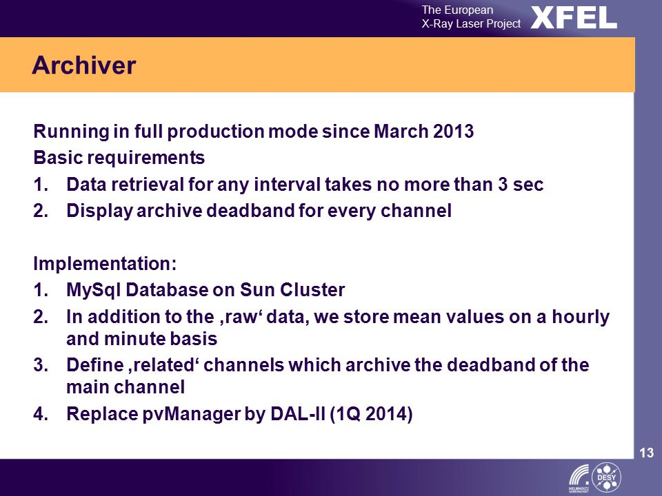 XFEL The European X-Ray Laser Project 13 Running in full production mode since March 2013 Basic requirements 1.Data retrieval for any interval takes n