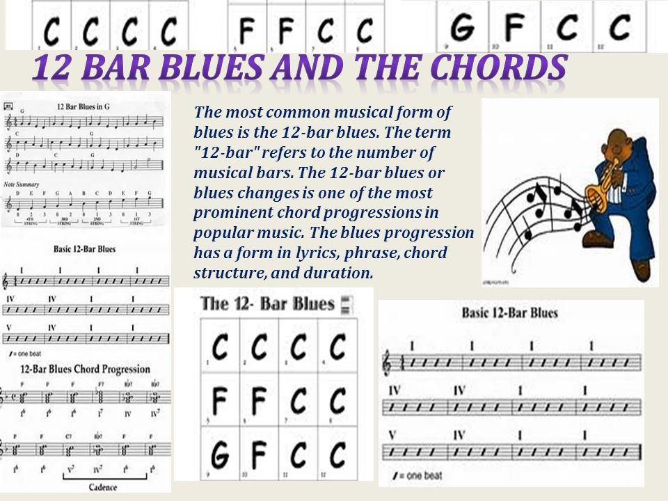 The most common musical form of blues is the 12-bar blues.