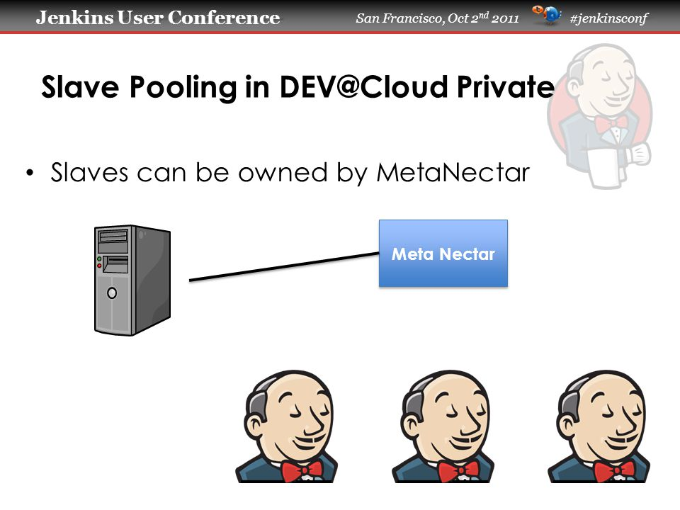 Jenkins User Conference Jenkins User Conference San Francisco, Oct 2 nd 2011 #jenkinsconf Slave Pooling in DEV@Cloud Private Slaves can be owned by MetaNectar Meta Nectar