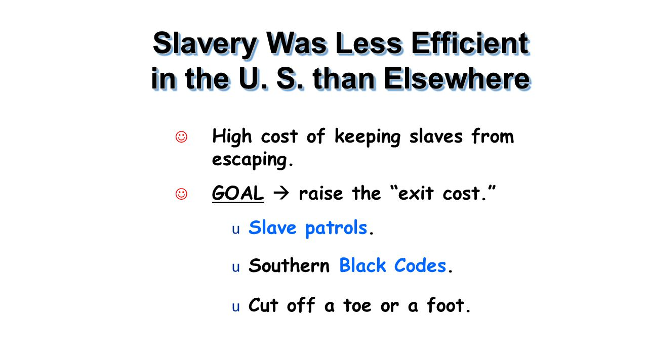 "Slavery Was Less Efficient in the U. S. than Elsewhere J High cost of keeping slaves from escaping. J GOAL  raise the ""exit cost."" u Slave patrols. u"