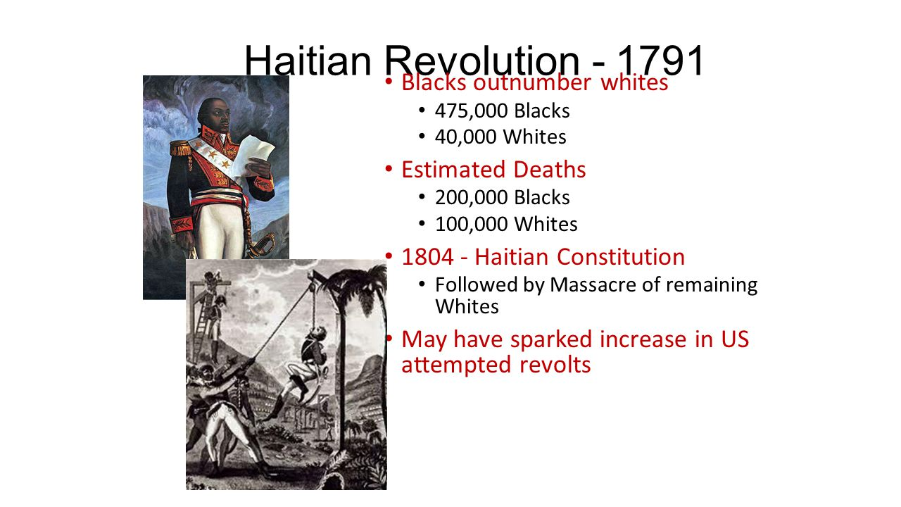 Haitian Revolution - 1791 Blacks outnumber whites 475,000 Blacks 40,000 Whites Estimated Deaths 200,000 Blacks 100,000 Whites 1804 - Haitian Constitut