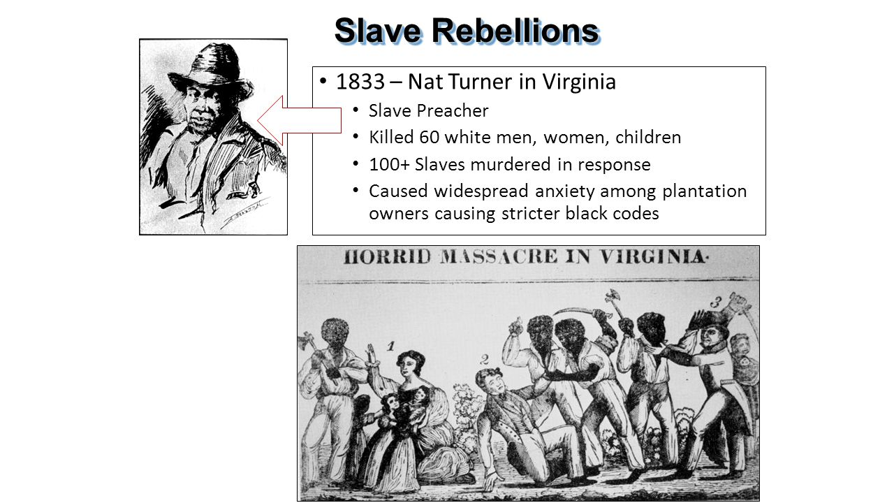 Slave Rebellions 1833 – Nat Turner in Virginia Slave Preacher Killed 60 white men, women, children 100+ Slaves murdered in response Caused widespread