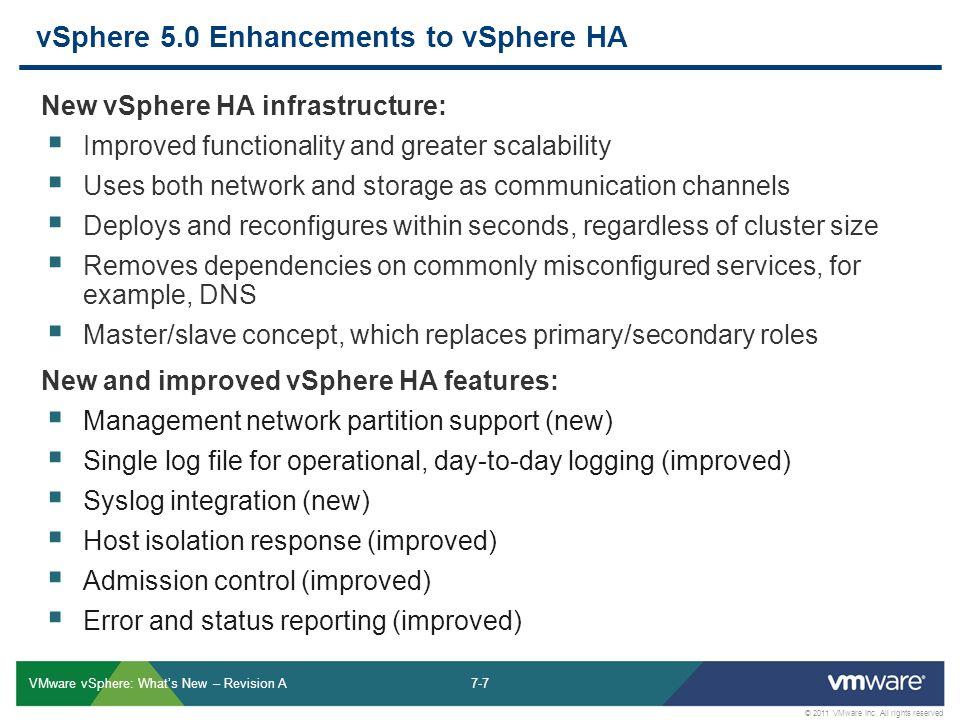7-7 © 2011 VMware Inc. All rights reserved VMware vSphere: What's New – Revision A vSphere 5.0 Enhancements to vSphere HA New vSphere HA infrastructur