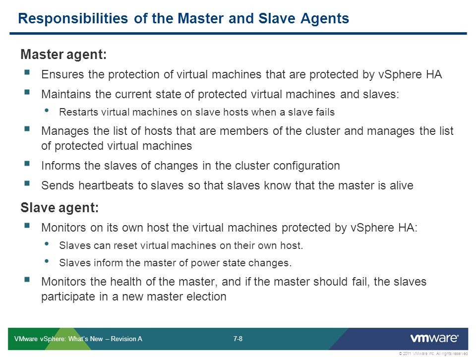 7-8 © 2011 VMware Inc. All rights reserved VMware vSphere: What's New – Revision A Responsibilities of the Master and Slave Agents Master agent:  Ens