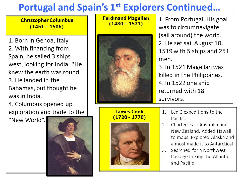 Portugal and Spain's 1 st Explorers Continued… Christopher Columbus (1451 – 1506) 1.