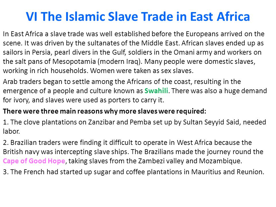 VI The Islamic Slave Trade in East Africa In East Africa a slave trade was well established before the Europeans arrived on the scene.