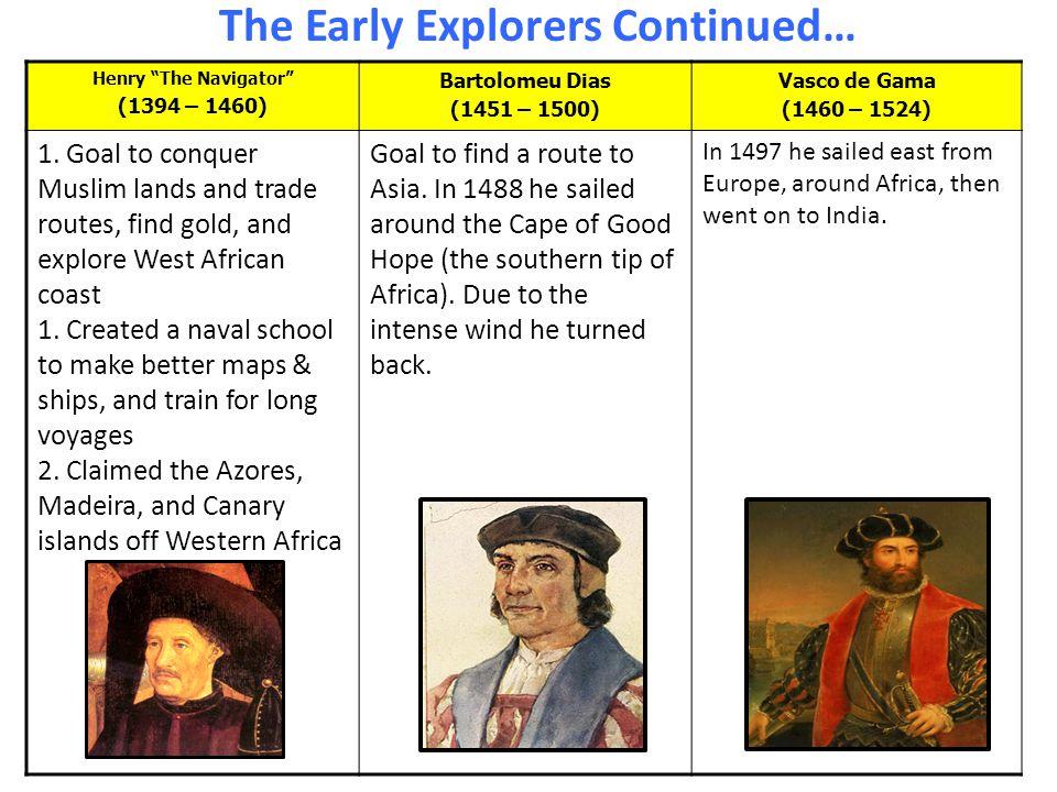 """The Early Explorers Continued… Henry """"The Navigator"""" (1394 – 1460) Bartolomeu Dias (1451 – 1500) Vasco de Gama (1460 – 1524) 1. Goal to conquer Muslim"""