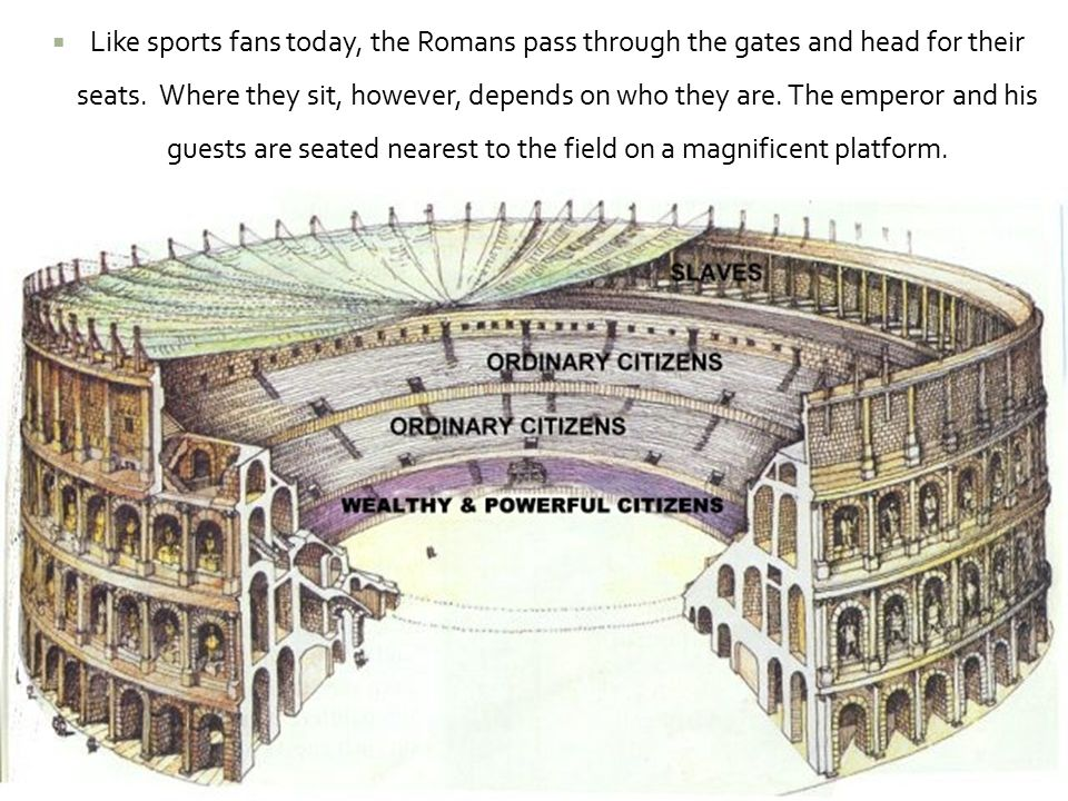  Like sports fans today, the Romans pass through the gates and head for their seats. Where they sit, however, depends on who they are. The emperor an
