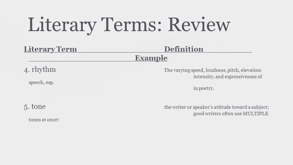 Literary Terms: Review Literary TermDefinition Example 4. rhythm The varying speed, loudness, pitch, elevation intensity, and expressiveness of speech