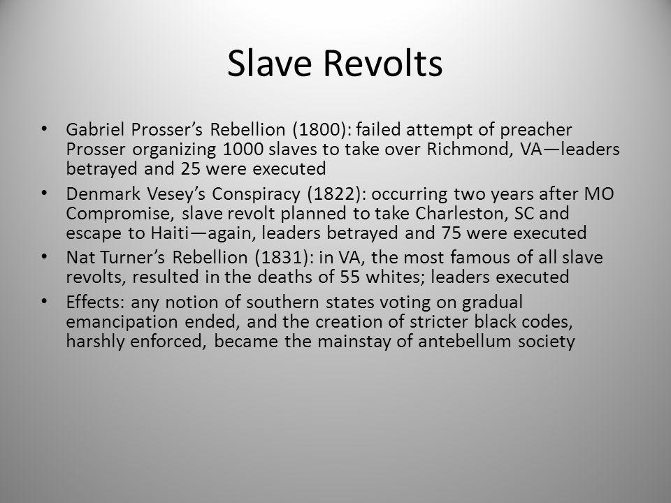 Slave Revolts Gabriel Prosser's Rebellion (1800): failed attempt of preacher Prosser organizing 1000 slaves to take over Richmond, VA—leaders betrayed