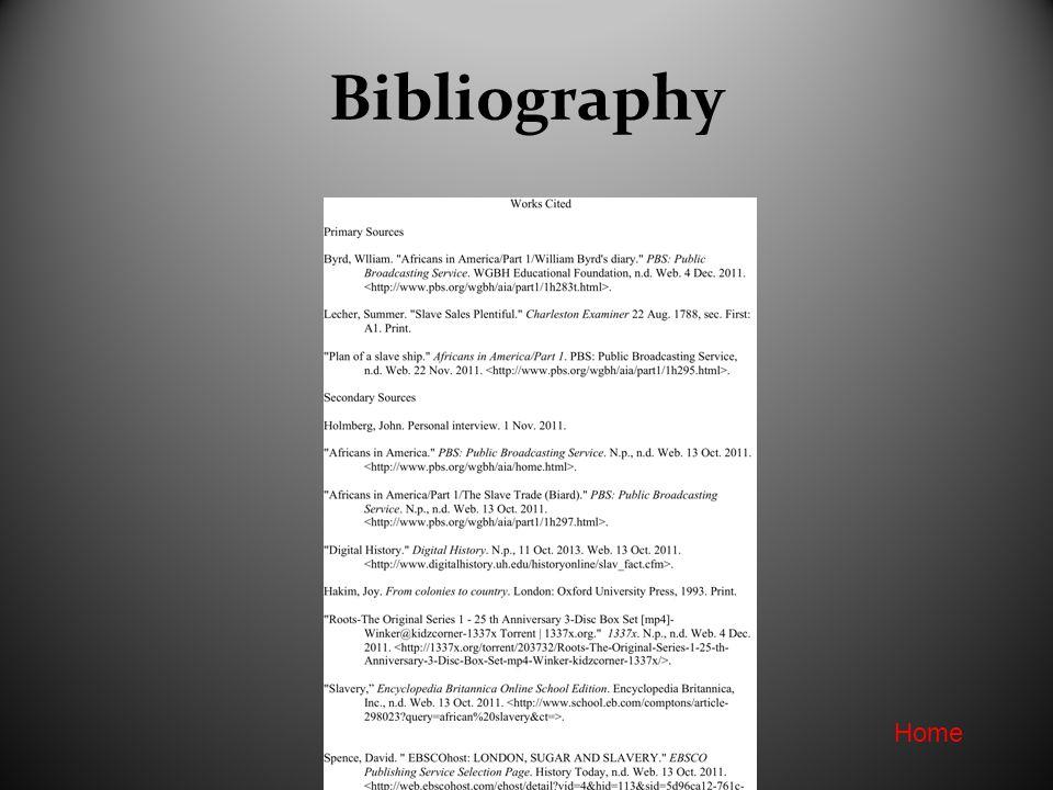 Bibliography Home