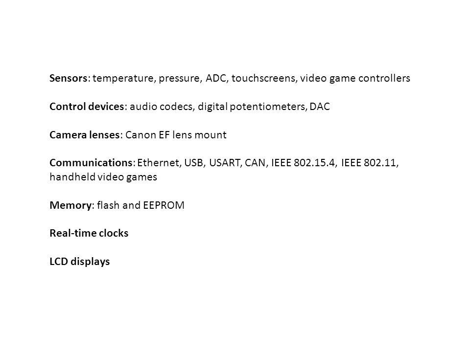 Sensors: temperature, pressure, ADC, touchscreens, video game controllers Control devices: audio codecs, digital potentiometers, DAC Camera lenses: Ca