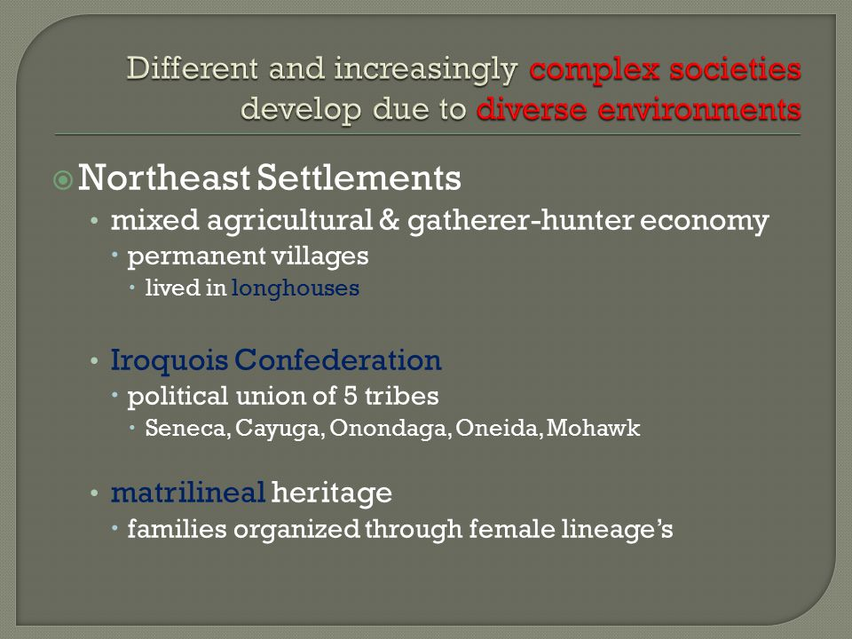  Northeast Settlements mixed agricultural & gatherer-hunter economy  permanent villages  lived in longhouses Iroquois Confederation  political uni