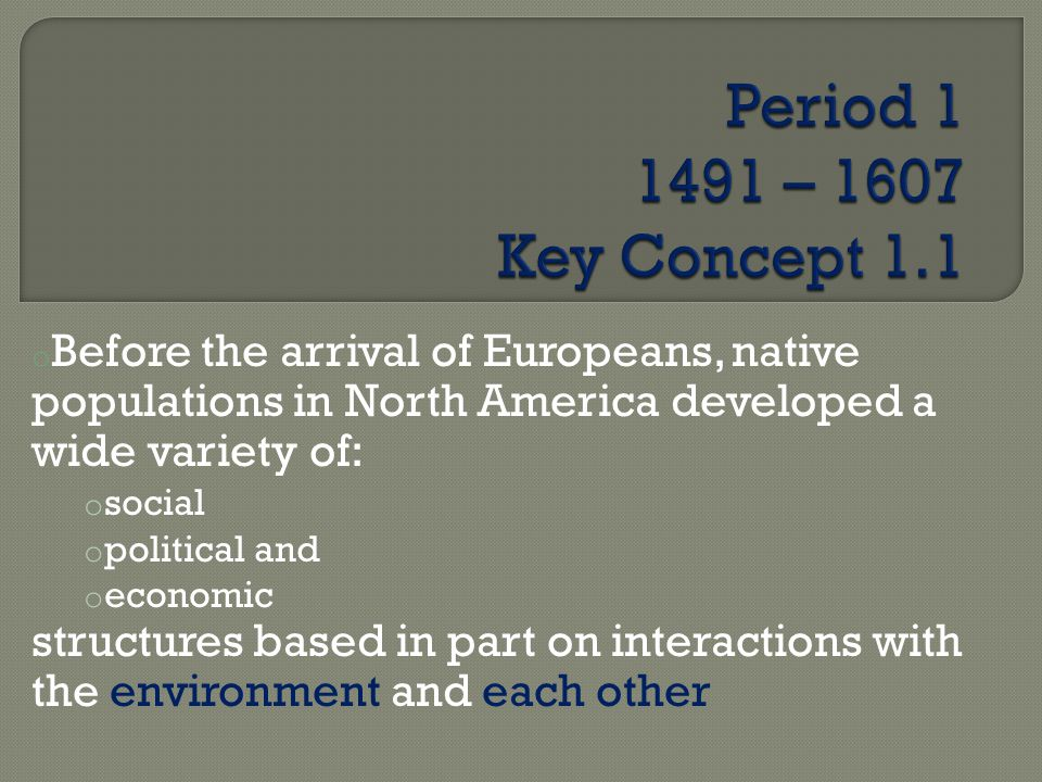 o Before the arrival of Europeans, native populations in North America developed a wide variety of: o social o political and o economic structures based in part on interactions with the environment and each other