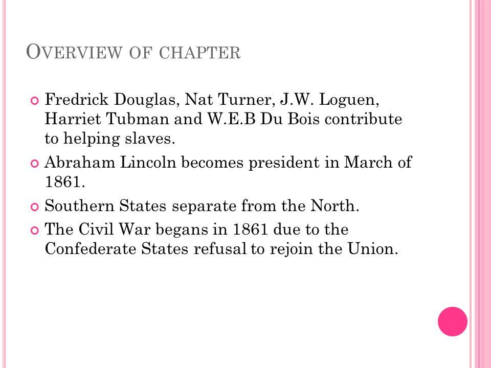 O VERVIEW OF CHAPTER Fredrick Douglas, Nat Turner, J.W.
