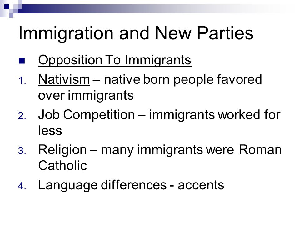 Immigration and New Parties Opposition To Immigrants 1.